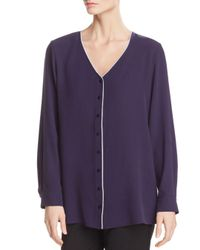 Eileen Fisher - Purple Piped Silk Top - Lyst