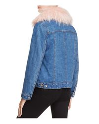 Aqua - Blue Faux Fur-collar Denim Jacket - Lyst