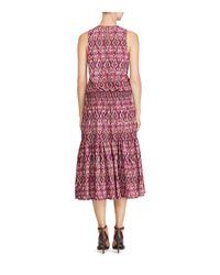 Ralph Lauren - Red Lauren Ikat Print Midi Dress - Lyst