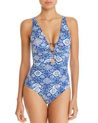 Ralph Lauren - Blue Tile Print One Piece Swimsuit - Lyst