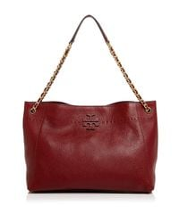 Tory Burch - Red Mcgraw Leather Tote - Lyst