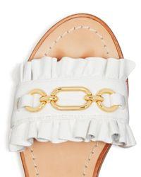 Kate Spade - White Women's Beau Leather Slide Sandals - Lyst