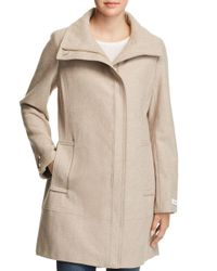 Calvin Klein - Natural Seamed Bouclé Coat - Lyst