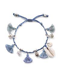 Chan Luu - Blue Tassel & Shell Bracelet - Lyst
