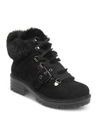 Kendall + Kylie Black Women's Edison Round Toe Suede Hiking Boots