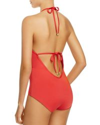 Laundry by Shelli Segal - Red Scallop Lace Plunge One-piece Swimsuit - Lyst