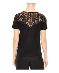 Sandro | Black Blind Lace Inset Top | Lyst