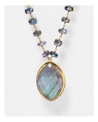 "Chan Luu - Blue Beaded Labradorite Mix Pendant Necklace, 31"" - Lyst"