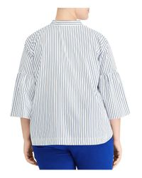 Ralph Lauren - Blue Lauren Plus Striped Bell-sleeve Top - Lyst