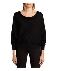 AllSaints - Black Elgar Merino Wool Sweater - Lyst