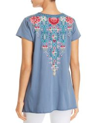 Johnny Was - Blue Peta Embroidered Drape Top - Lyst