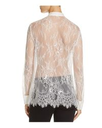 Chelsea and Walker - White Mesa Lace Tuxedo Shirt - Lyst