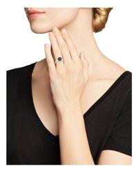 Roberto Coin - Blue Platinum Sapphire And Diamond Halo Ring - Lyst