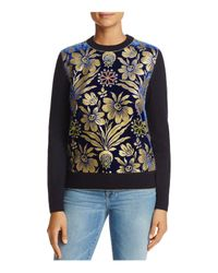 Tory Burch - Blue Hollis Floral Mixed Media Sweater - Lyst