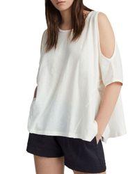 AllSaints - White Ella Fifi Cold-shoulder Tee - Lyst