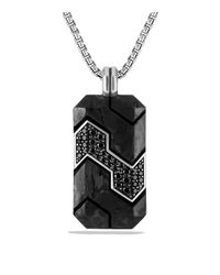 David Yurman - Forged Carbon Tag With Black Diamonds In Silver for Men - Lyst