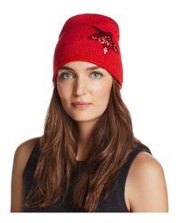 Aqua - Red Sequin Star Knit Cap - Lyst