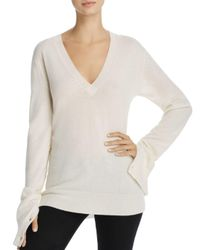 Theory - White V-neck Button-sleeve Cashmere Sweater - Lyst