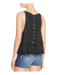 Free People - Black Constant Crush Pintucked Top - Lyst