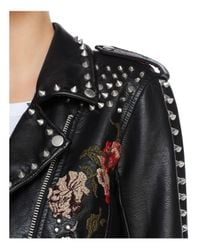 Blank NYC - Black Budding Romance Embroidered Faux Leather Moto Jacket - Lyst
