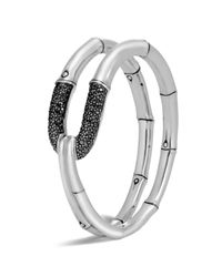 John Hardy - Metallic Sterling Silver Bamboo Flex Cuff With Black Sapphire - Lyst