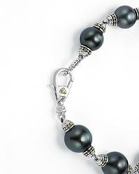 Lagos - Metallic 18k Gold And Sterling Silver Luna Cultured Freshwater Black Pearl Bracelet - Lyst