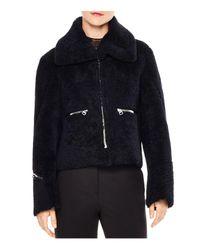 Sandro - Blue Julia Zipper-detail Cropped Real Lamb Shearling Jacket - Lyst