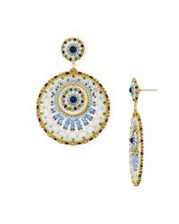 Miguel Ases - Multicolor Double Circle Drop Earrings - Lyst