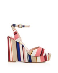 Kate Spade - Pink Dellie Striped Platform Wedge Sandals - Lyst