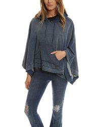Pam & Gela - Blue Denim Track Hooded Poncho - Lyst