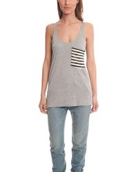 Erin Kleinberg | Gray Striped Detail Pocket Tank | Lyst