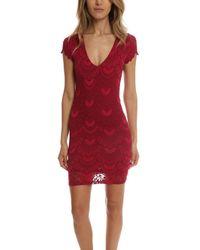 Nightcap | Red Spanish Deep V Cap Sleeve Dress | Lyst
