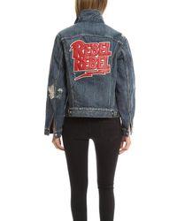 R13 - Blue Embroidered Rebel Trucker Jacket - Lyst