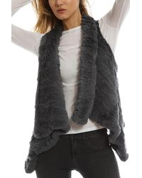 H Brand - Gray Indie Rabbit Fur Vest - Lyst