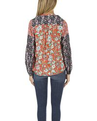 FRAME - Multicolor Chevron Piped Blouse Floral Multi - Lyst
