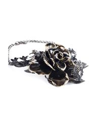 Roberto Cavalli - Metallic Women Swarovski Embellished Rose Collar Necklace - Lyst