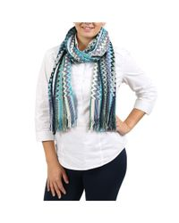 Missoni - Blue Turquoise/gold Zig Zag Scarf - Lyst