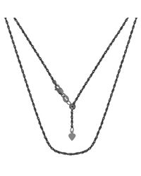 JewelryAffairs | White Sterling Silver Black Ruthenium Plated 22 Inch Sliding Adjustable Rope Chain Necklace, 1.5mm | Lyst