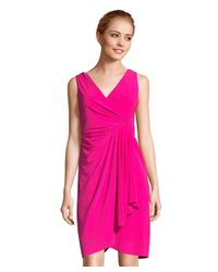 Adrianna Papell - Pink Draped Jersey A-line Dress With Faux Wrap Bodice - Lyst