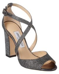 Jimmy Choo - Gray Carrie 100 Strappy Heeled Lame Glitter Sandal - Lyst