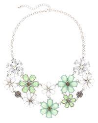Sparkling Sage - Green Plated Crystal & Resin Flower Bib Necklace - Lyst
