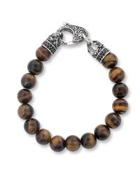 West Coast Jewelry - Metallic Crucible Stainless Steel Polished Tiger's Eye Antiqued Finish Dragon Clasp Beaded Bracelet (10.5mm) for Men - Lyst