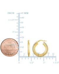JewelryAffairs - 14k Gold Yellow Finish Hoop Fancy Earrings, Diameter 15mm - Lyst