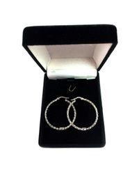 JewelryAffairs - 10k White Gold Shiny Mesh Round Hoop Earrings, Diameter 30mm - Lyst