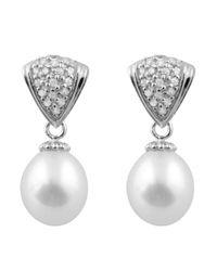 Splendid - White Dangling Cz Cluster Pearl Earrings - Lyst