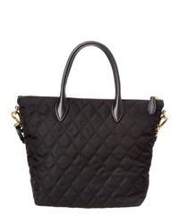 Prada - Black Embellished Nylon & Saffiano Leather Double Handle Tote - Lyst