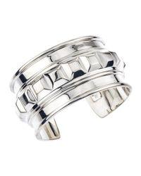 Jewelista - White Sterling Silver Box Square Cuff for Men - Lyst