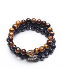 Something Strong - Blue Bundle Of 3 Beaded Zinc Alloy Lion Bracelets - Multi Colour for Men - Lyst