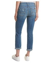 7 For All Mankind - Blue Josefina Bright Light Broken Twill Skinny Boyfriend Cut - Lyst