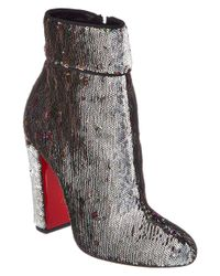 Christian Louboutin - Red Moulamax 100 Sequin Bootie - Lyst